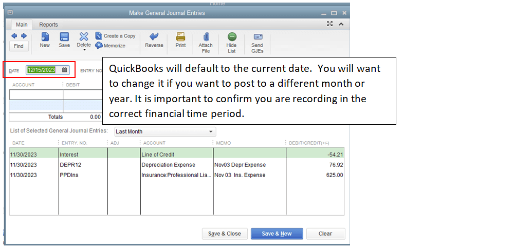 How to Make General Journal Entries in QuickBooks Desktop Step 2